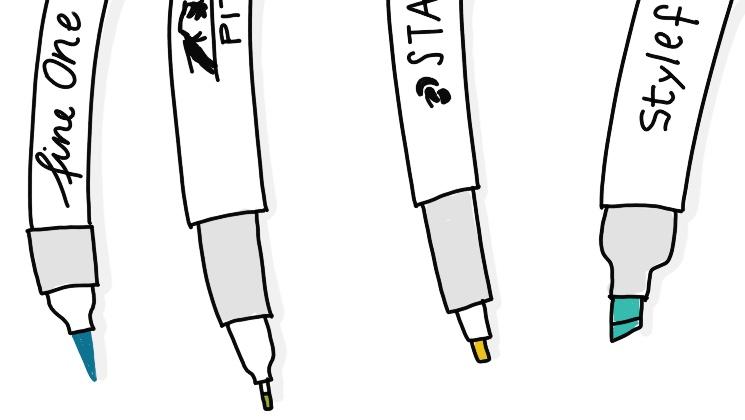 Stifte für Sketchnotes