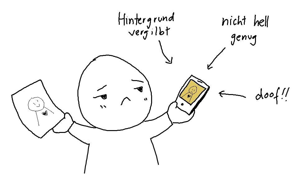 notizbuch mit dem smartphone abfotografieren schlechtes ergebnis